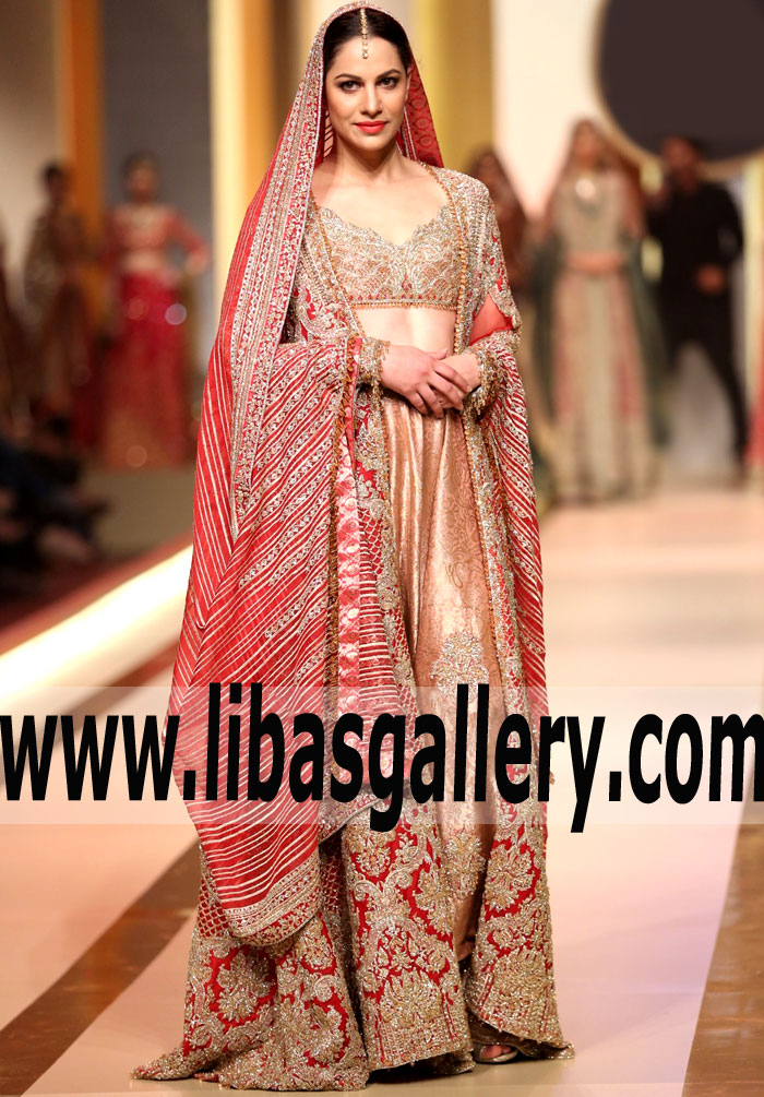 Faraz Manan The Classic Red Bridal Dress at QMobile HUM Bridal Couture Week 2017