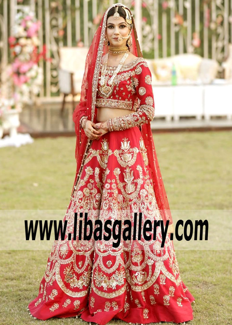 Bridal Wear Red Crocus Lehenga