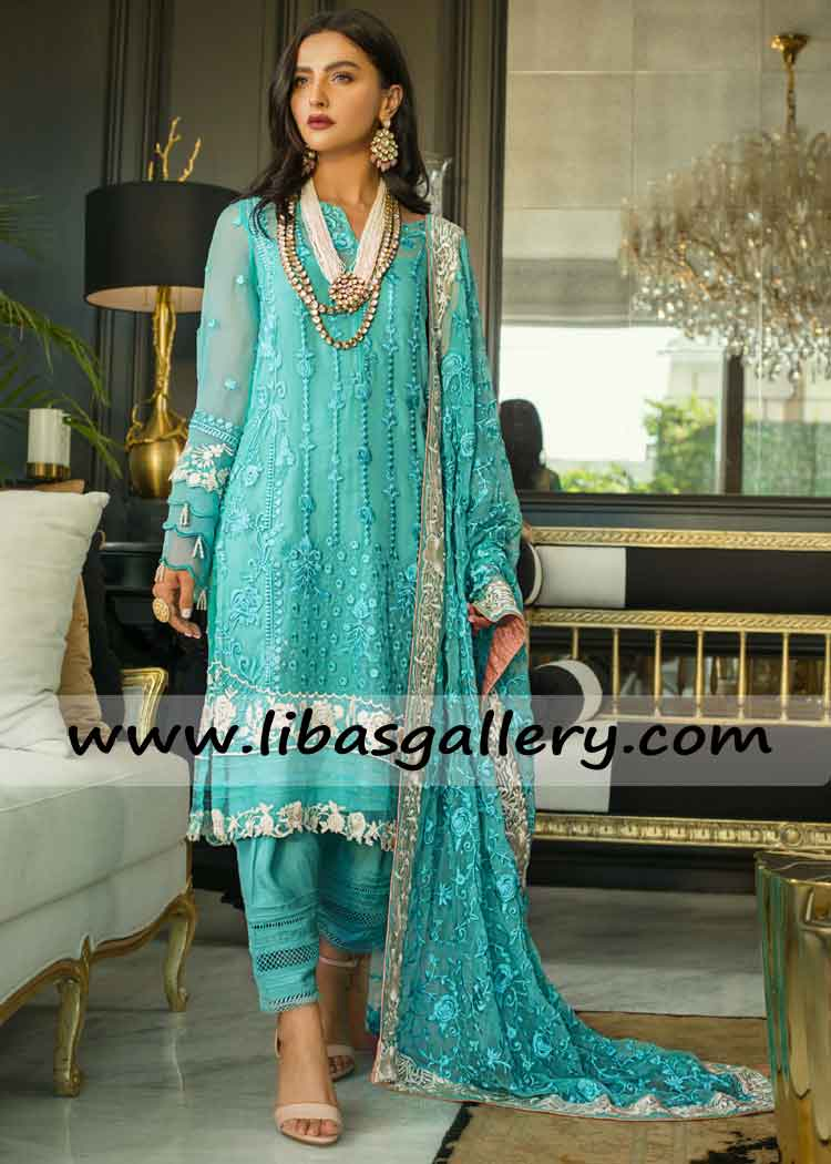 Latest Designer Chiffon Embroidered Shirt And Dupatta For Women Girl 3pc Suit Europe Asia America Australia South Africa
