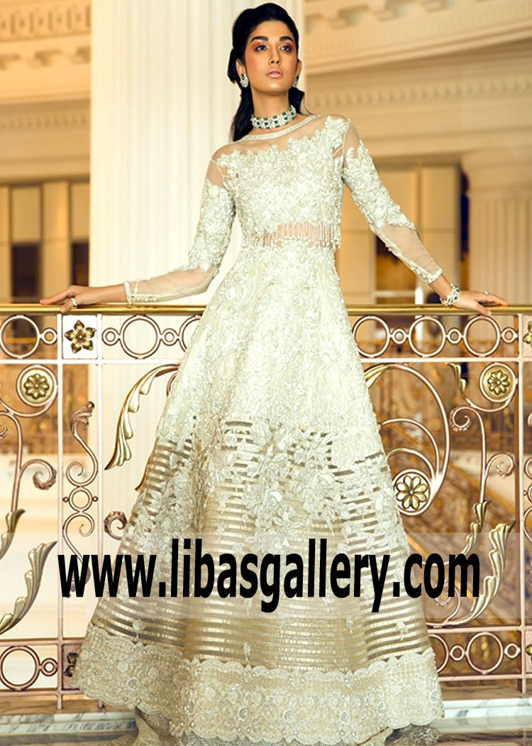 9552e116a5 Offwhite Modern Long Sleeves Illusion Neckline Embellished Gown By Faraz  Manan