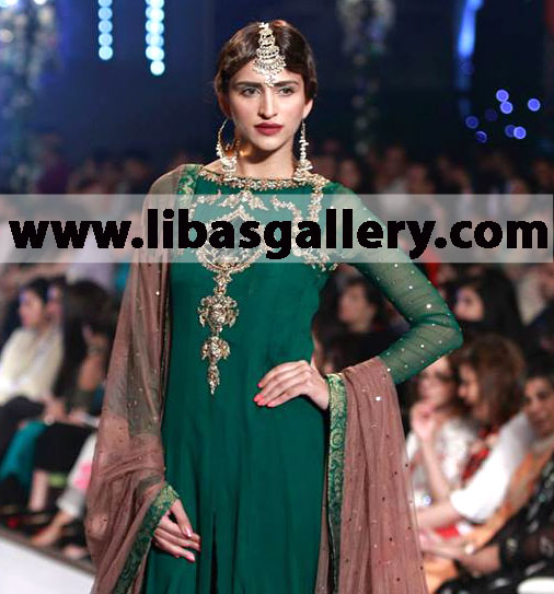 Zaheer Abbas Front Slit Long Gown For Partywear Sleevless Long Gown