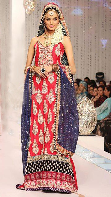 Red And Blue Wedding Gown