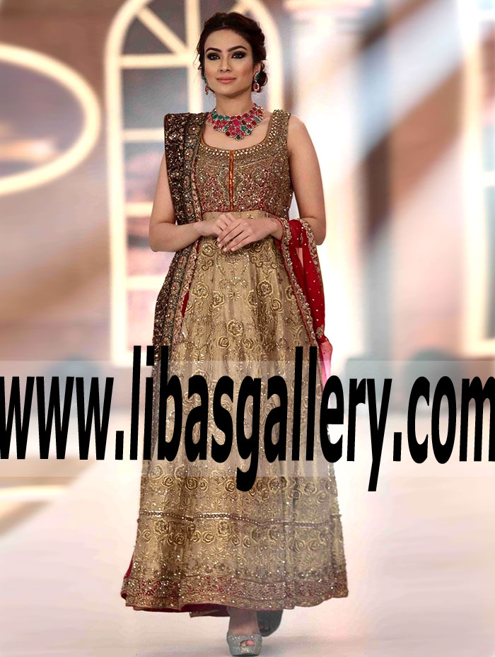 374c1bcefb9 Amazing Pakistani Designer Bridal GOWN Dress with Exquisite Embellishments  for Valima and Reception Dinner