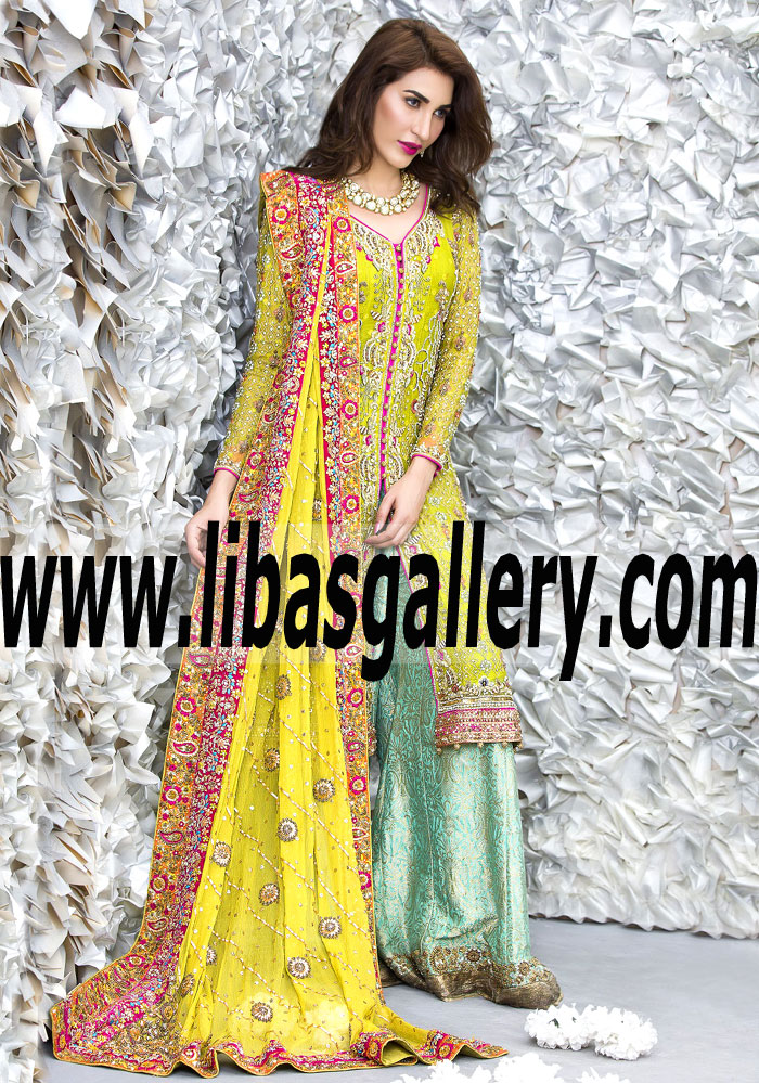 9a1b81096d Love Me Completely Citrine Bridal Sharara Dress for Wedding and Special  Occasions