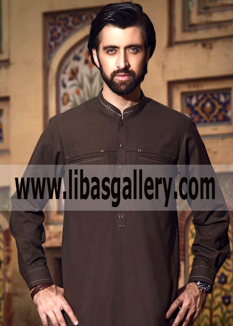 cde133ec4a brown Pakistani kurta for Men Eid Collection Design on front pocket ...