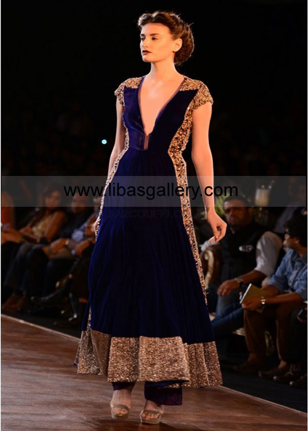 Designer Velvet Flared Anarkali Hand Embellished Indian Wedding Gowns By Manish Malhotra Signature At Couture Week