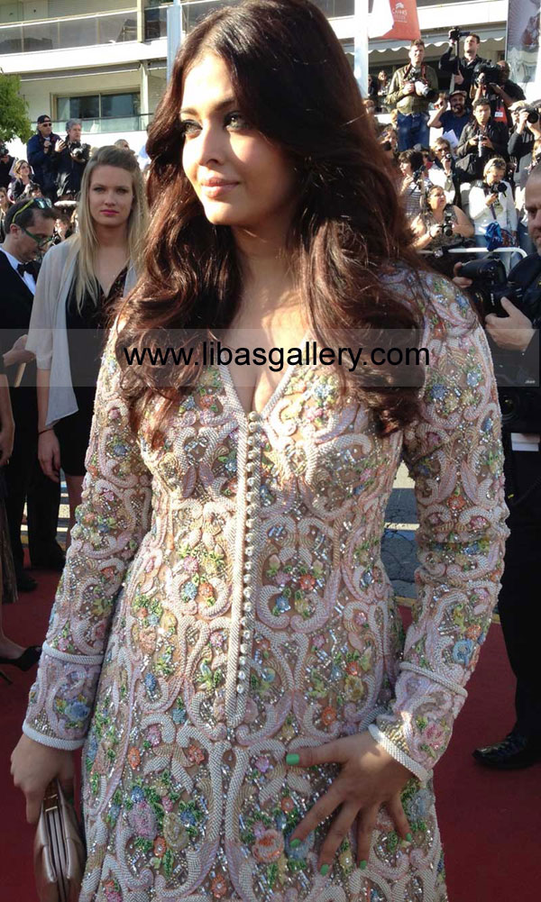 Bollywood Actress Aishwarya Rai Bachchan Long Anarkali Gowns Dresses Indian Boutiques In Cannes