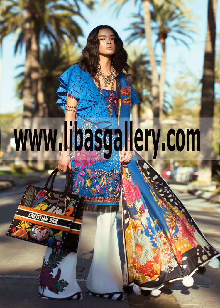 66e89f3b36 Dyed Jacquard Trouser Elan Embroidered Lawn Designs 2019 3pc Summer ...