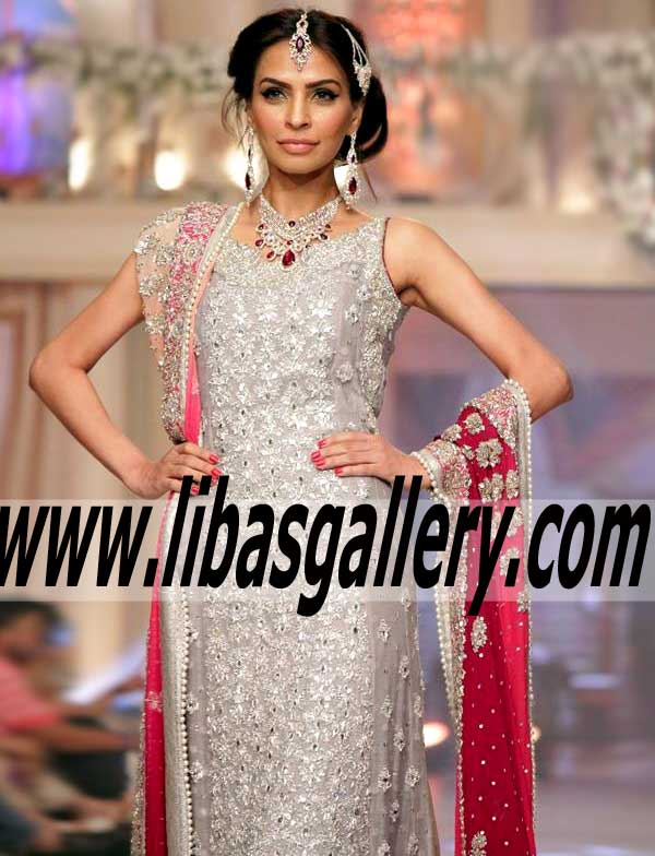 Mesmerizing CHIFFON Gown In ASH GREY AND SILVER Color With Amazing  Embellishments Perfect For Festive And Wedding Occasions