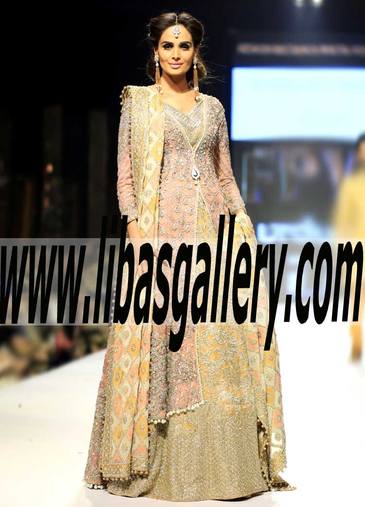 a465ce232b76 Classy Wedding Gown with splendour Sharara for Reception and Rukhasati