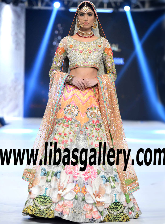 d0a2119f81 Marvelous Digital floral Print Bridal Lehenga features Alluring  Embellishments and Embroidery for Reception and Walima