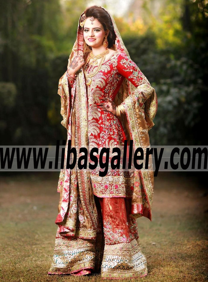 a3f766b7cf Beauteous Pakistani Bridal Dress flared trouser with exquisite  embellishments for Nikah