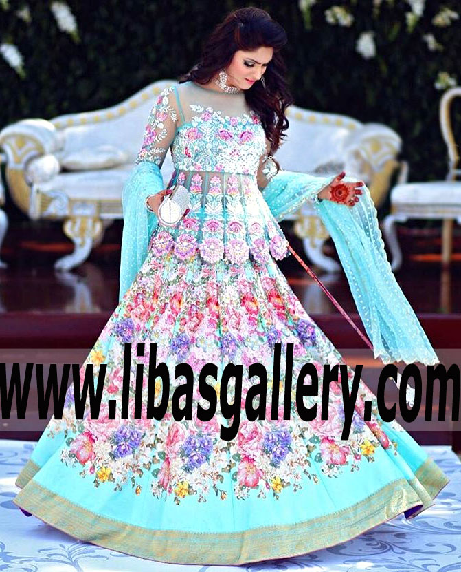 346d68ea18 Latest Pakistani Indian Bridal Wear organza peplum Wedding Lehenga ...
