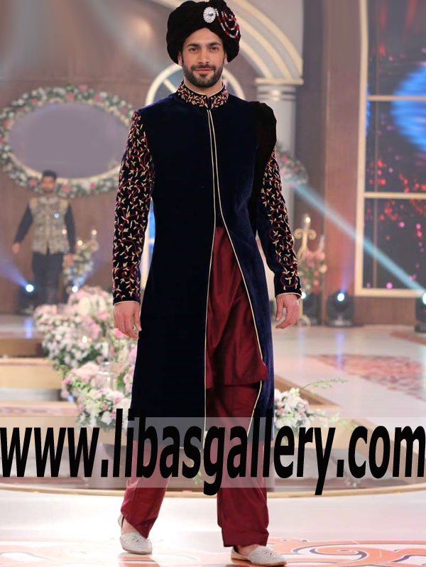 9de4c772c5 Fascinating Blue Velvet Wedding Sherwani for Groom and Bridegroom