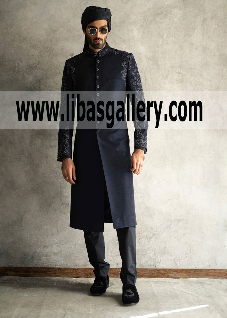 Buy hand crafted antique buttons navy blue raw silk groom