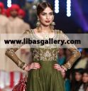 Zaheer Abbas Embellished crinkle chiffon Anarkali gown with Lehenga and Chiffon dupatta, Zaheer Abbas Emerald Green Caprica Anarkali Style Dress 2014 bridal couture week catwalk dresses online in USA, Canada