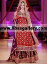 Red wedding lehenga dress by Sana Abbas IBFJW 2014, round neck, heavy embellished bridal shirt with bridal lehenga and bridal dupatta Buy Sana Abbas IBFJW 2014 bridal lehengas and wedding lehngas collection. Latest pakistani wedding lehenga choli by Sana