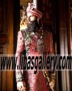 Sherwani Royal in Red Color Jamawar banars with Red and Gold Turban for Groom Wedding Dulha Mughal Style Sheffield UK