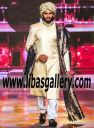 Silk Wedding Sherwani Raw Silk Groom Sherwani 2017 with Safa Turban Pagri Pre tied big size with White shalwar and black shoes on Ramp Brisbane Australia