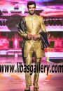 Golden Stylish Wedding Sherwani 2017 Groom Smiling and Walking on Ramp for Barat Day Comfortbable Jamawar Sherwani and pants UK,USA,Canada,Saudi Arabia